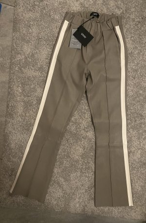 Arma Collection Pantalón de cuero taupe-marrón grisáceo