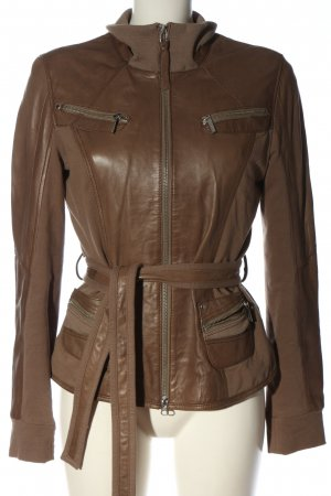 Arma Women Leather Jacket brown-bronze-colored casual look