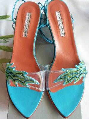 Armando Pollini Strapped High-Heeled Sandals turquoise leather