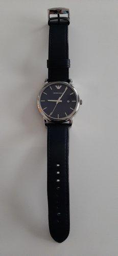 Emporio Armani Horloge met lederen riempje donkerblauw