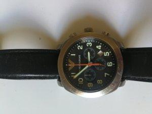 Armani Horloge met lederen riempje zwart-zilver