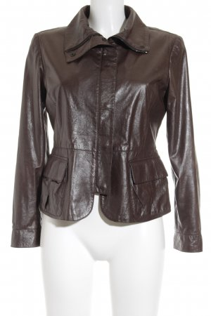 Armani Collezioni Leather Jacket dark brown wet-look