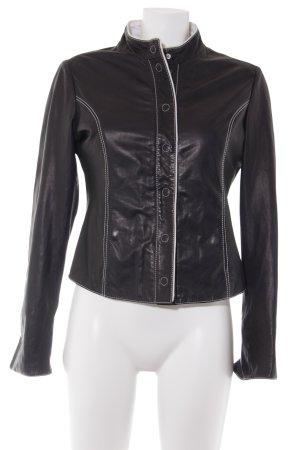 Armani Collezioni Veste en cuir noir-blanc style décontracté