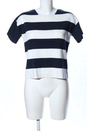 Armani Collezioni T-shirts en mailles tricotées blanc-noir motif rayé