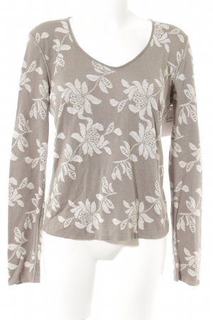 Armani Collezioni V-Neck Sweater grey brown-beige floral pattern casual look