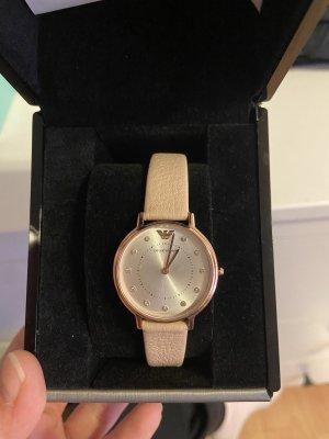 Emporio Armani Horloge met lederen riempje roze