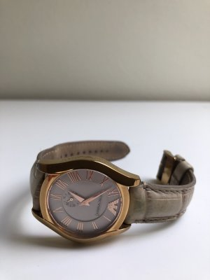 Armani Watch With Leather Strap sand brown-oatmeal leather