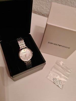 Armani Zegarek z metalowym paskiem srebrny