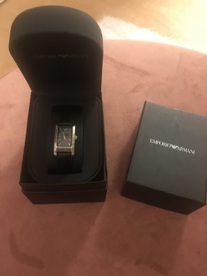 Armani Watch With Leather Strap black