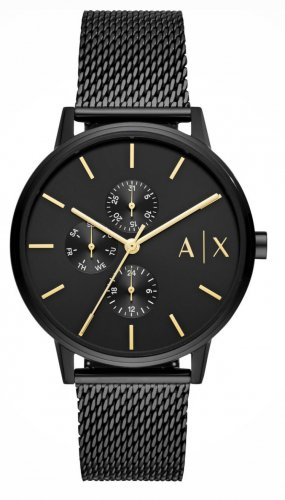 Armani Exchange Montre analogue noir-doré bronze