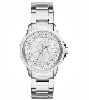 Armani Exchange Damenuhr Silber mit Steinchen NEU