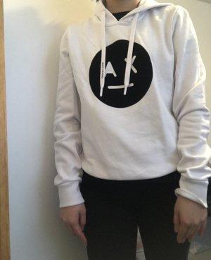 Armani Exchange Sweat à capuche blanc-noir coton