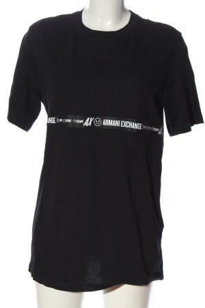 Armani Exchange Kurzarm-Bluse schwarz-weiß Schriftzug gedruckt Casual-Look