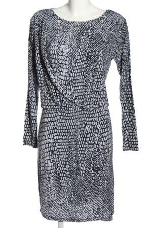 Armani Exchange Langarmkleid weiß-schwarz Allover-Druck Elegant