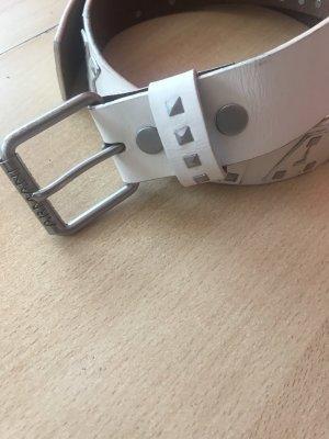 Armani Exchange Cinturón de cuero blanco puro