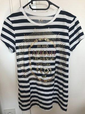 Armani Exchange Shirt Gestreift Blau Weiss Maritim /Seefrau Glitzer Gold, preppy blogger, style