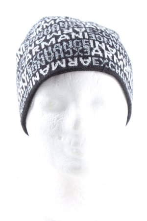 Armani Exchange Knitted Hat black-white cable stitch casual look