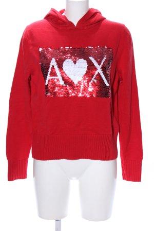 Armani Exchange Pull tricoté rouge-blanc imprimé avec thème