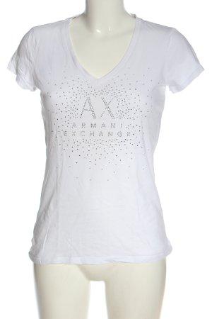 Armani Exchange Gebreid shirt wit gedrukte letters casual uitstraling
