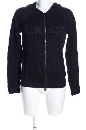 Armani Exchange Veste sweat noir lettrage imprimé style décontracté