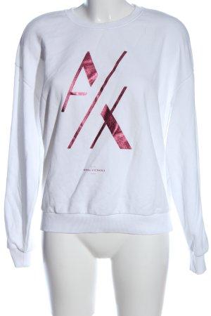 Armani Exchange Sweatshirt blanc-rouge imprimé avec thème style décontracté