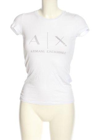 Armani Exchange T-Shirt weiß-silberfarben Schriftzug gedruckt Casual-Look