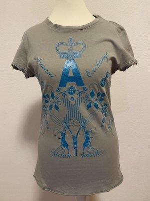 AX ARMANI EXCHANGE T-shirt imprimé bleu pétrole-gris coton