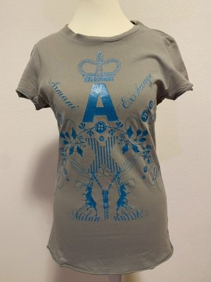 AX ARMANI EXCHANGE Print Shirt petrol-grey cotton