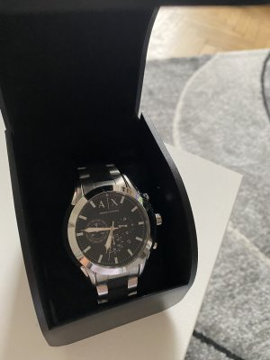 Armani Exchange Watch With Metal Strap black-silver-colored