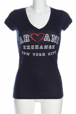 Armani Exchange Koszulka z dekoltem w kształcie litery V niebieski