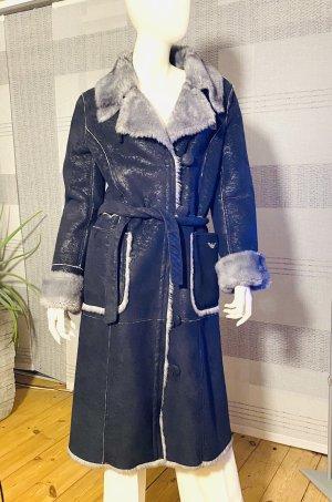 Armani Jeans Jas van imitatiebont donkerblauw