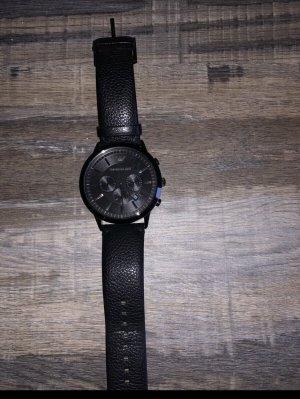 Armani Horloge met lederen riempje zwart