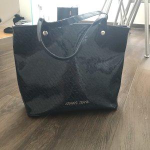 Armani Jeans AJ Designer Handtasche dunkelblau Lack neuwertig