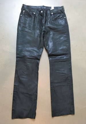 Armani Jeans Pantalone in pelle nero-petrolio Pelle