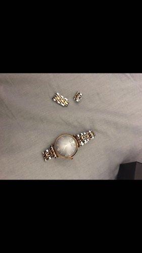 Armani Jeans Reloj con pulsera metálica rosa-color plata
