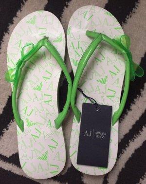 Armani Jeans Entre-doig à talon haut blanc-vert fluo