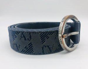 Armani Jeans Leather Belt dark blue-silver-colored