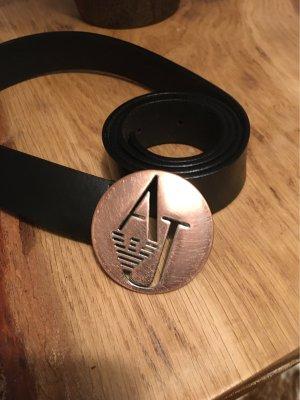Armani Jeans Cinturón de cuero negro-color bronce