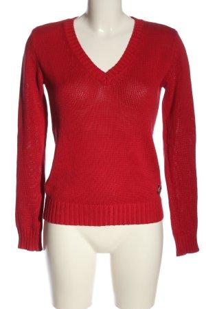 Armani Jeans Gehaakte trui rood kabel steek casual uitstraling