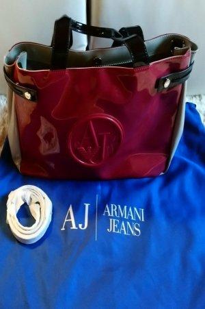 Armani Sac à main gris foncé-rouge carmin
