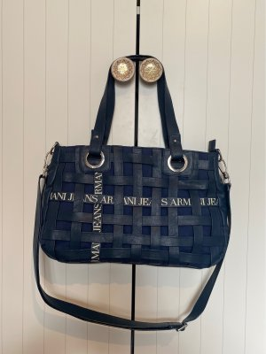Armani Jeans Carry Bag dark blue-silver-colored