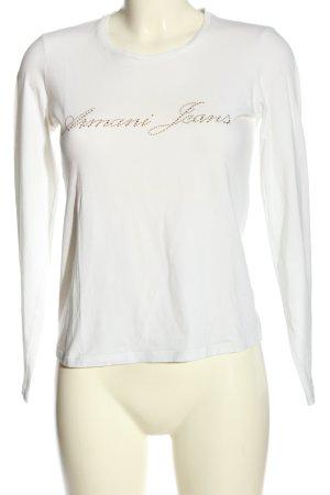 Armani Jeans Langarm-Bluse weiß Schriftzug gedruckt Casual-Look