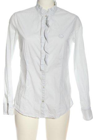 Armani Jeans Langarmhemd weiß Schriftzug gestickt Casual-Look
