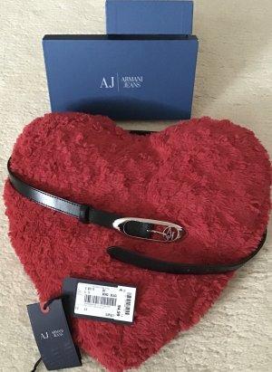 Armani Jeans Leather Belt black-light grey leather