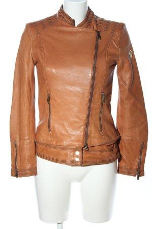 Armani Jeans Veste en cuir bronze style décontracté