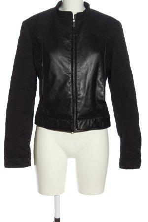 Armani Jeans Leather Jacket black casual look
