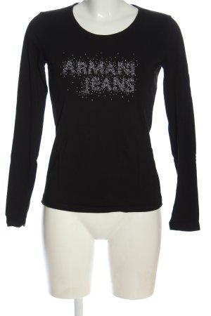 Armani Jeans Longesleeve zwart gedrukte letters casual uitstraling