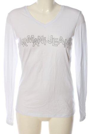 Armani Jeans Top à manches longues blanc-noir lettrage imprimé