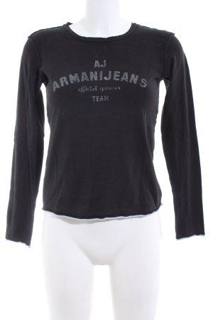 Armani Jeans Longsleeve schwarz-hellgrau Schriftzug gedruckt Casual-Look