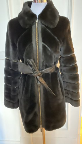 Armani Jeans Manteau en fausse fourrure noir